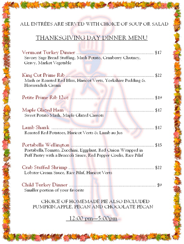 158 - thanksgiving menu