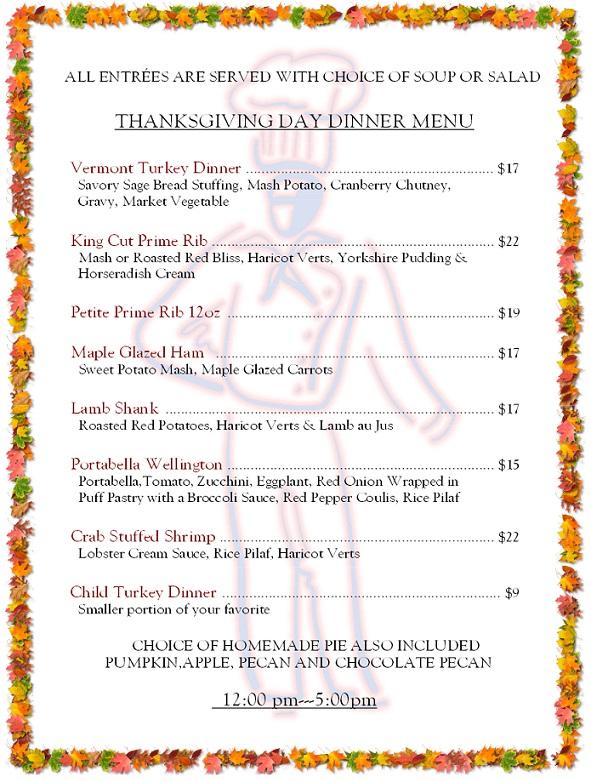 158 - thanksgiving menu