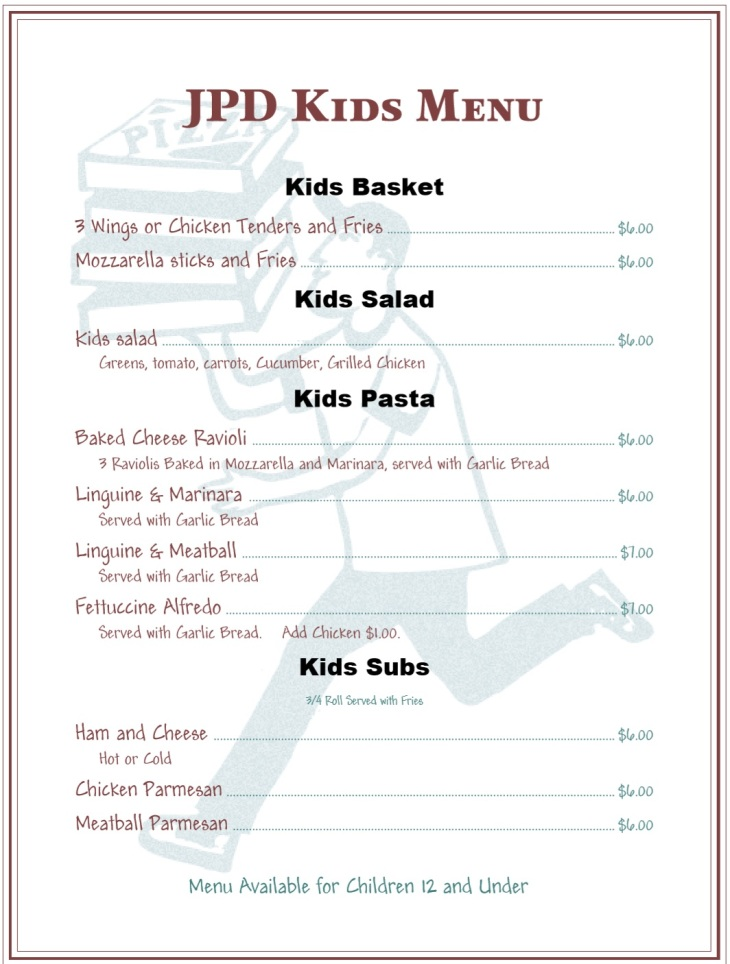 Jeffersonville Pizza Department Kids' Menu