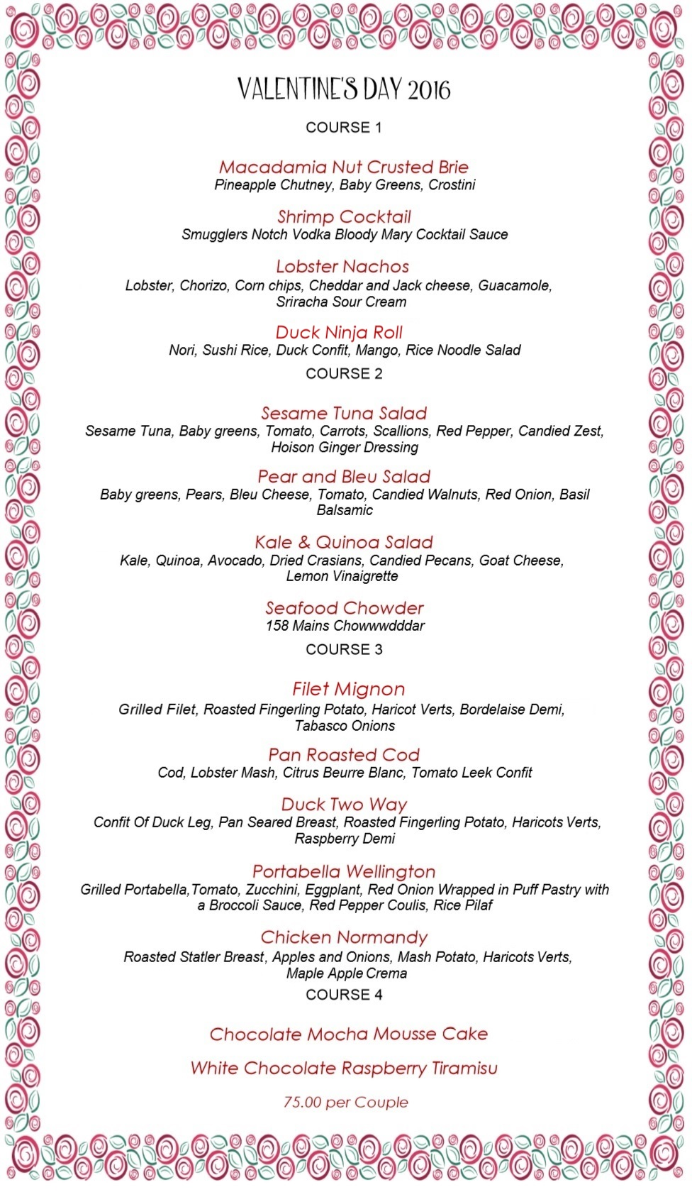 158 Main - Valentine's Dinner Menu 2016