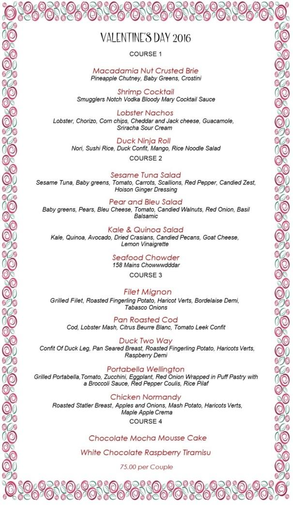 158 Main - Valentine's Dinner Menu 2016