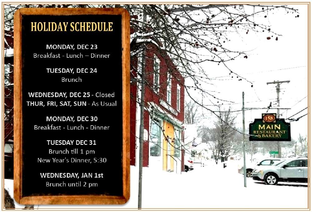 Holiday Schedule at 158 main restaurant - jeffersonville vt